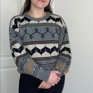 Super Cute 80s Style Fair Isle Style Sweater